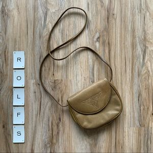 ROLFS Olive Green Leather Small Crossbody Bag Rose